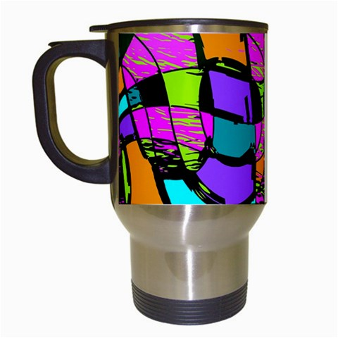 Abstract Sketch Art Squiggly Loops Multicolored Travel Mugs (White)