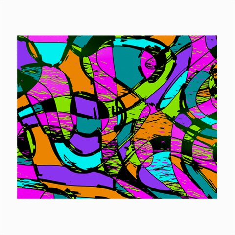 Abstract Sketch Art Squiggly Loops Multicolored Small Glasses Cloth