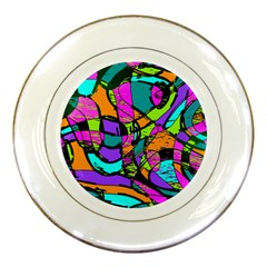 Abstract Sketch Art Squiggly Loops Multicolored Porcelain Plates