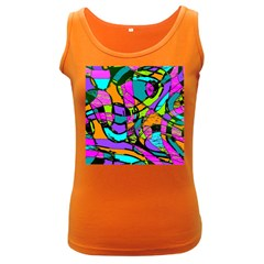 Abstract Sketch Art Squiggly Loops Multicolored Women s Dark Tank Top