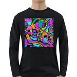 Abstract Sketch Art Squiggly Loops Multicolored Long Sleeve Dark T-Shirts Front