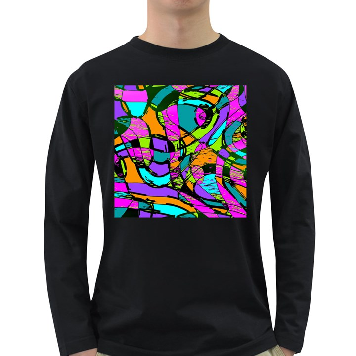 Abstract Sketch Art Squiggly Loops Multicolored Long Sleeve Dark T-Shirts