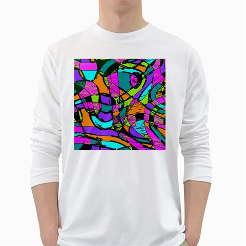 Abstract Sketch Art Squiggly Loops Multicolored White Long Sleeve T-Shirts