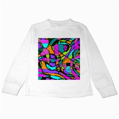 Abstract Sketch Art Squiggly Loops Multicolored Kids Long Sleeve T Shirts