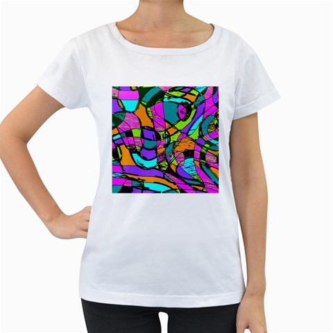 Abstract Sketch Art Squiggly Loops Multicolored Women s Loose-Fit T-Shirt (White)
