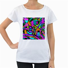 Abstract Sketch Art Squiggly Loops Multicolored Women s Loose Fit T Shirt (white)