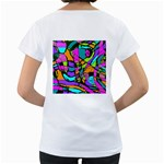Abstract Sketch Art Squiggly Loops Multicolored Women s Loose-Fit T-Shirt (White) Back
