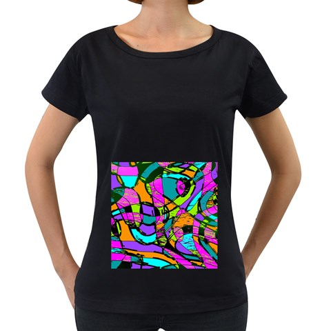 Abstract Sketch Art Squiggly Loops Multicolored Women s Loose-Fit T-Shirt (Black)