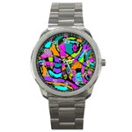 Abstract Sketch Art Squiggly Loops Multicolored Sport Metal Watch Front