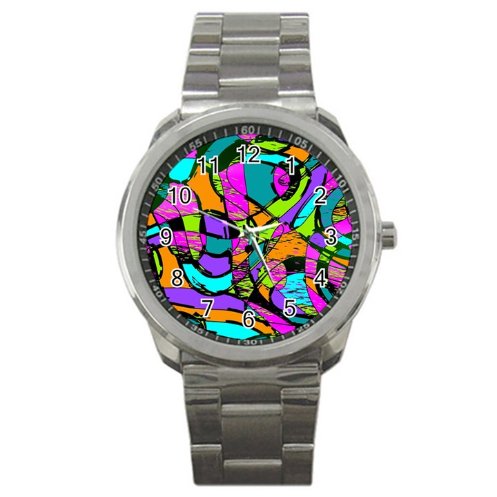 Abstract Sketch Art Squiggly Loops Multicolored Sport Metal Watch