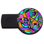 Abstract Sketch Art Squiggly Loops Multicolored USB Flash Drive Round (4 GB)  Front