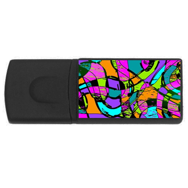 Abstract Sketch Art Squiggly Loops Multicolored USB Flash Drive Rectangular (4 GB)