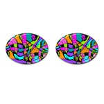 Abstract Sketch Art Squiggly Loops Multicolored Cufflinks (Oval) Front