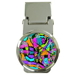 Abstract Sketch Art Squiggly Loops Multicolored Money Clip Watches