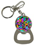 Abstract Sketch Art Squiggly Loops Multicolored Bottle Opener Key Chains Front