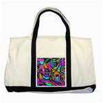 Abstract Sketch Art Squiggly Loops Multicolored Two Tone Tote Bag Front