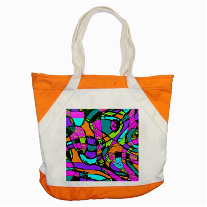 Abstract Sketch Art Squiggly Loops Multicolored Accent Tote Bag