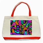 Abstract Sketch Art Squiggly Loops Multicolored Classic Tote Bag (Red) Front