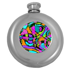 Abstract Sketch Art Squiggly Loops Multicolored Round Hip Flask (5 oz)