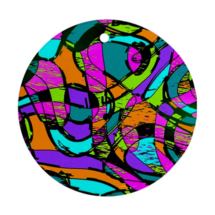 Abstract Sketch Art Squiggly Loops Multicolored Round Ornament (Two Sides)