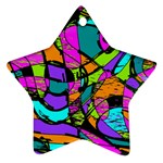 Abstract Sketch Art Squiggly Loops Multicolored Star Ornament (Two Sides)  Front