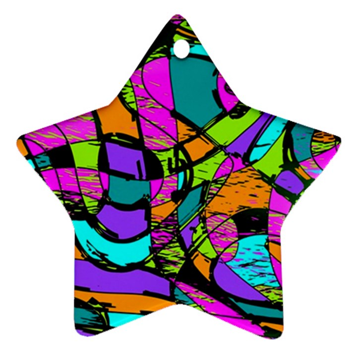 Abstract Sketch Art Squiggly Loops Multicolored Star Ornament (Two Sides)
