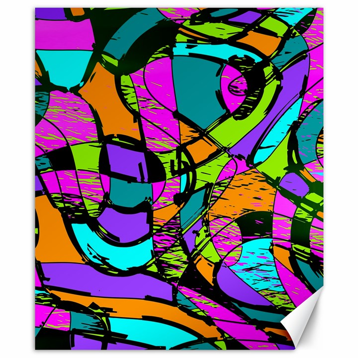Abstract Sketch Art Squiggly Loops Multicolored Canvas 8  x 10