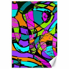 Abstract Sketch Art Squiggly Loops Multicolored Canvas 12  x 18