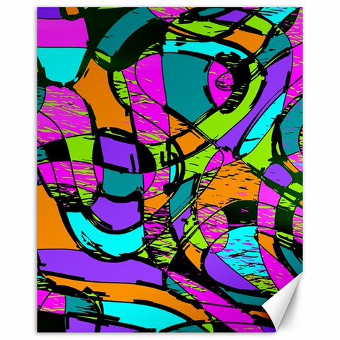 Abstract Sketch Art Squiggly Loops Multicolored Canvas 16  x 20
