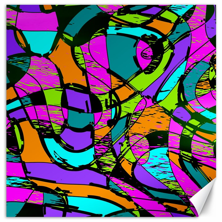 Abstract Sketch Art Squiggly Loops Multicolored Canvas 20  x 20