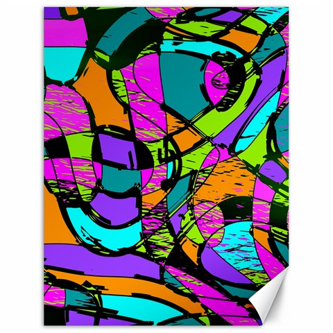 Abstract Sketch Art Squiggly Loops Multicolored Canvas 18  x 24