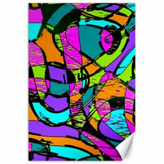 Abstract Sketch Art Squiggly Loops Multicolored Canvas 20  X 30