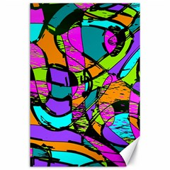 Abstract Sketch Art Squiggly Loops Multicolored Canvas 24  X 36