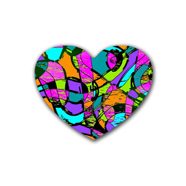 Abstract Sketch Art Squiggly Loops Multicolored Rubber Coaster (Heart)