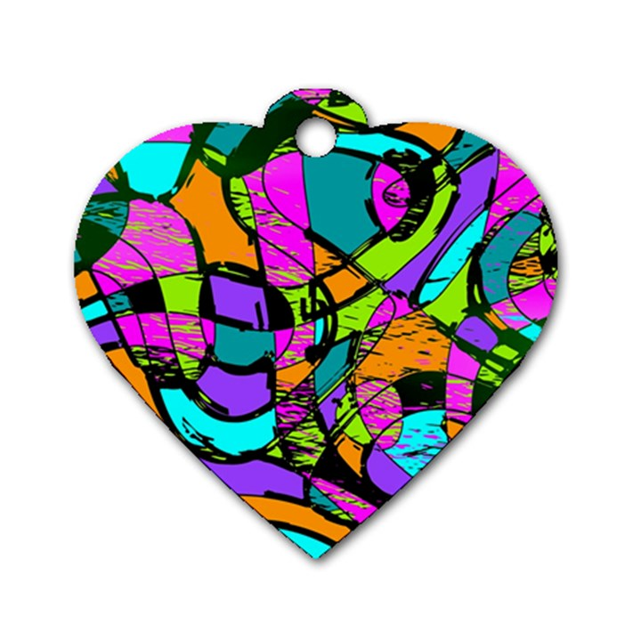 Abstract Sketch Art Squiggly Loops Multicolored Dog Tag Heart (Two Sides)