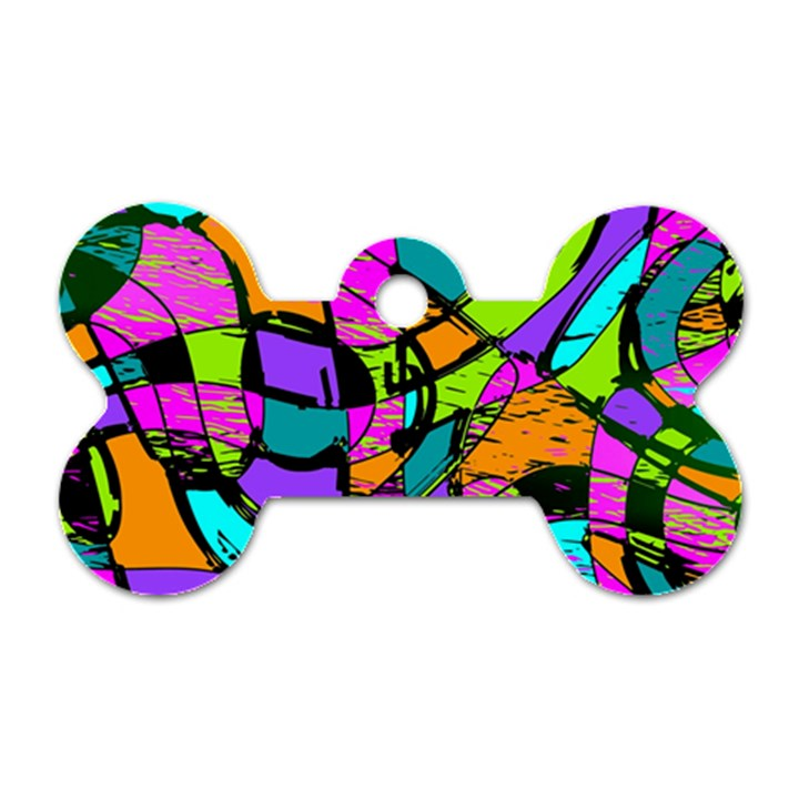 Abstract Sketch Art Squiggly Loops Multicolored Dog Tag Bone (One Side)
