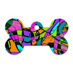 Abstract Sketch Art Squiggly Loops Multicolored Dog Tag Bone (Two Sides) Front