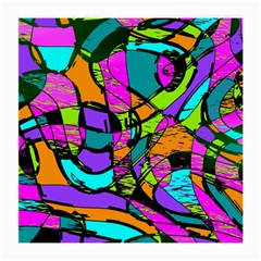 Abstract Sketch Art Squiggly Loops Multicolored Medium Glasses Cloth