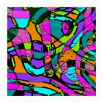 Abstract Sketch Art Squiggly Loops Multicolored Medium Glasses Cloth Front