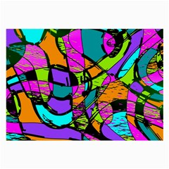 Abstract Sketch Art Squiggly Loops Multicolored Large Glasses Cloth