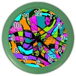Abstract Sketch Art Squiggly Loops Multicolored Color Wall Clocks Front