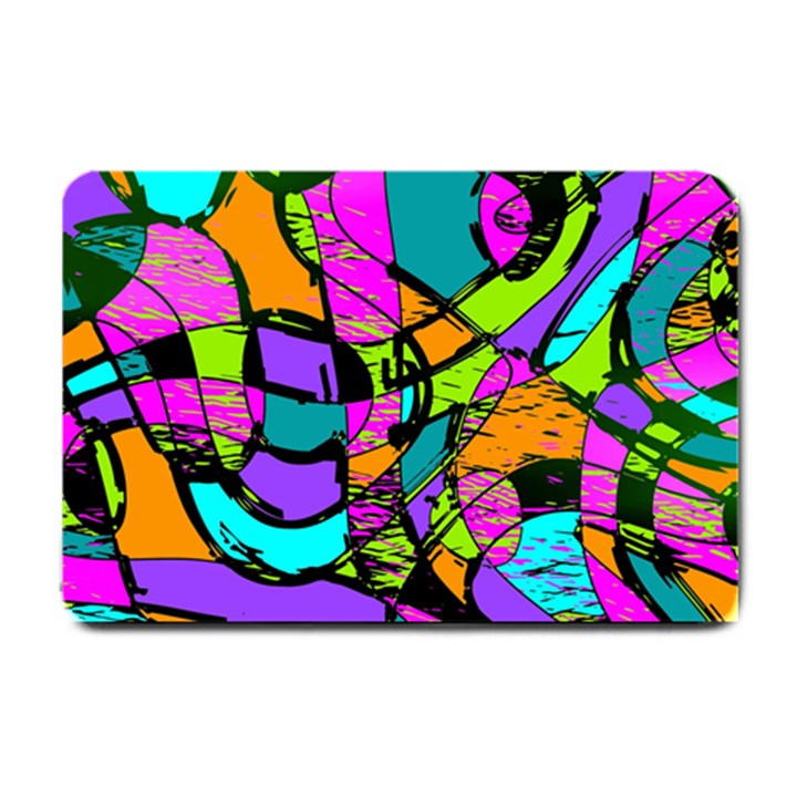 Abstract Sketch Art Squiggly Loops Multicolored Small Doormat