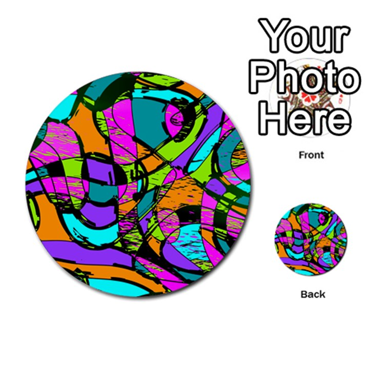 Abstract Sketch Art Squiggly Loops Multicolored Multi-purpose Cards (Round)