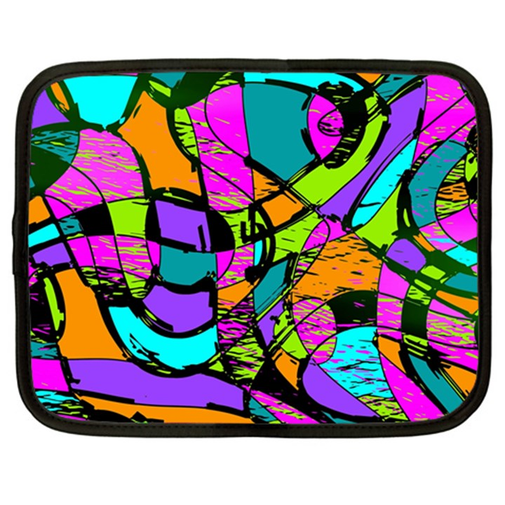 Abstract Sketch Art Squiggly Loops Multicolored Netbook Case (Large)