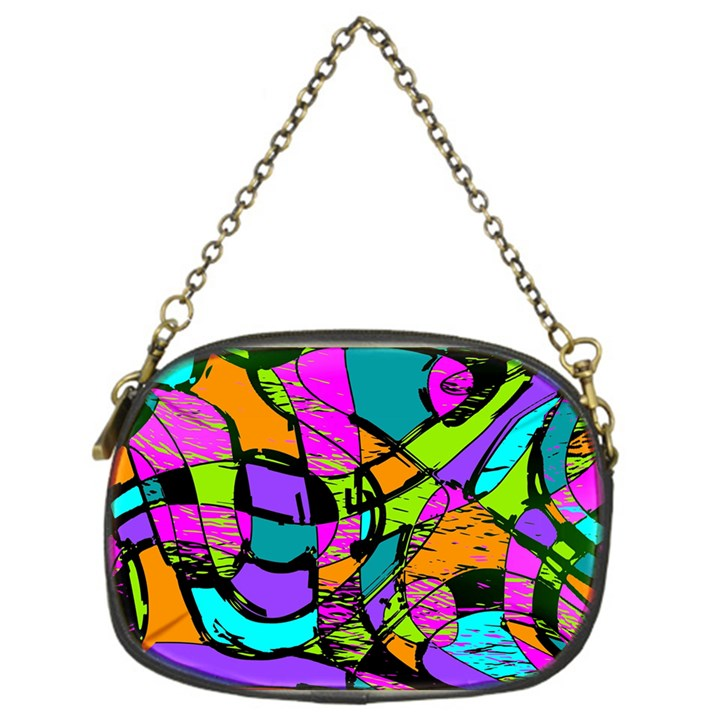 Abstract Sketch Art Squiggly Loops Multicolored Chain Purses (One Side)