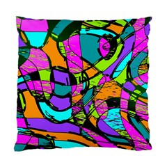 Abstract Sketch Art Squiggly Loops Multicolored Standard Cushion Case (Two Sides)