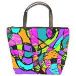 Abstract Sketch Art Squiggly Loops Multicolored Bucket Bags Front
