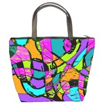 Abstract Sketch Art Squiggly Loops Multicolored Bucket Bags Back