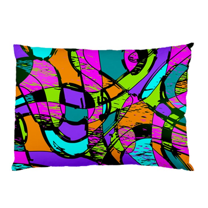 Abstract Sketch Art Squiggly Loops Multicolored Pillow Case