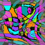 Abstract Sketch Art Squiggly Loops Multicolored Mini Canvas 8  x 8  8  x 8  x 0.875  Stretched Canvas